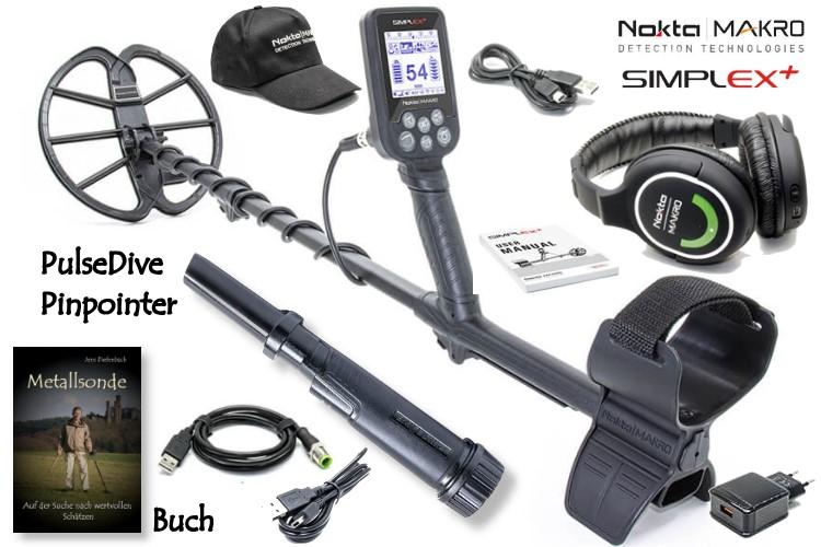 Nokta/Makro Simplex+ Funkkopfhörer Ausrüstungspaket III (Metalldetektor mit Funkkopfhörer & PulseDive Pinpointer & Schatzsucherhandbuch)